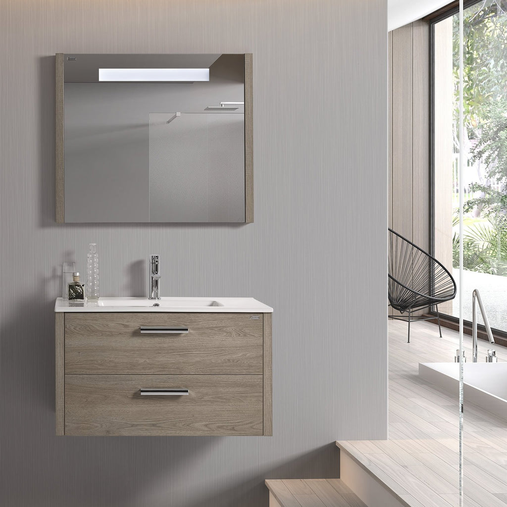 "40"" LED Backlit Bathroom Vanity Mirror, Wall Mount, Moon, Serie Nova by VALENZUELA"