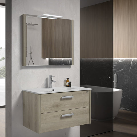 "28"" Single Vanity, Wall Mount, 2 Drawers with Soft Close, Sand, Serie Nova by VALENZUELA"