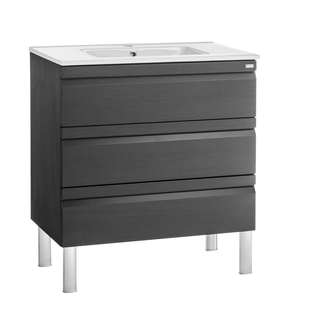 "24"" Single Vanity, Floor Mount, 3 Drawers with Soft Close, Grey, Serie Solco by VALENZUELA"