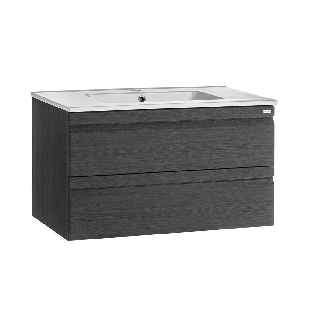 "32"" Single Vanity, Wall Mount, 2 Drawers with Soft Close, Grey, Serie Solco by VALENZUELA"