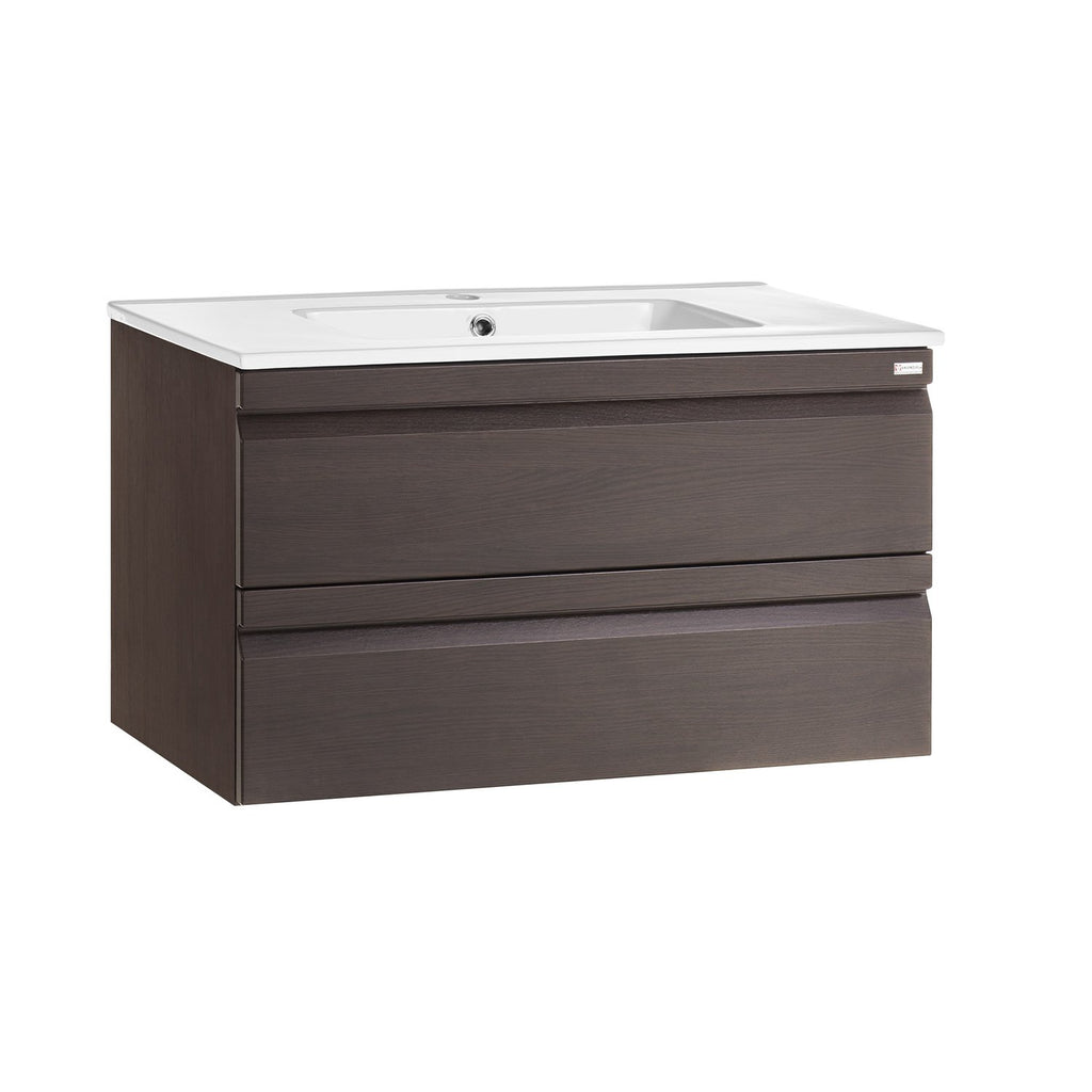 "40"" Single Vanity, Wall Mount, 2 Drawers with Soft Close, Wenge, Serie Solco by VALENZUELA"