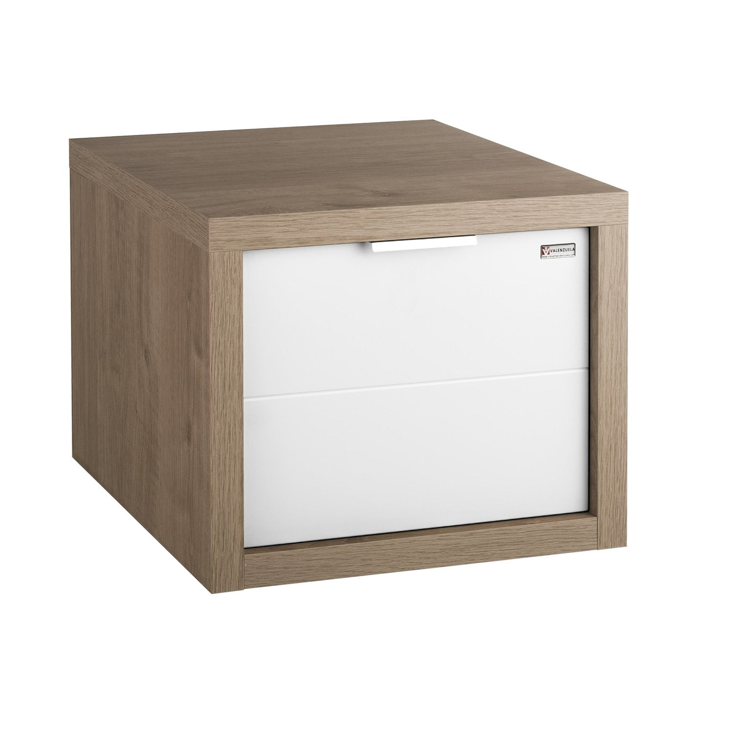 "16"" Lower Side Cabinet, Wall Mount, 1 Drawer whit Handle and Soft Close, Oak - White, Serie Tino by VALENZUELA"