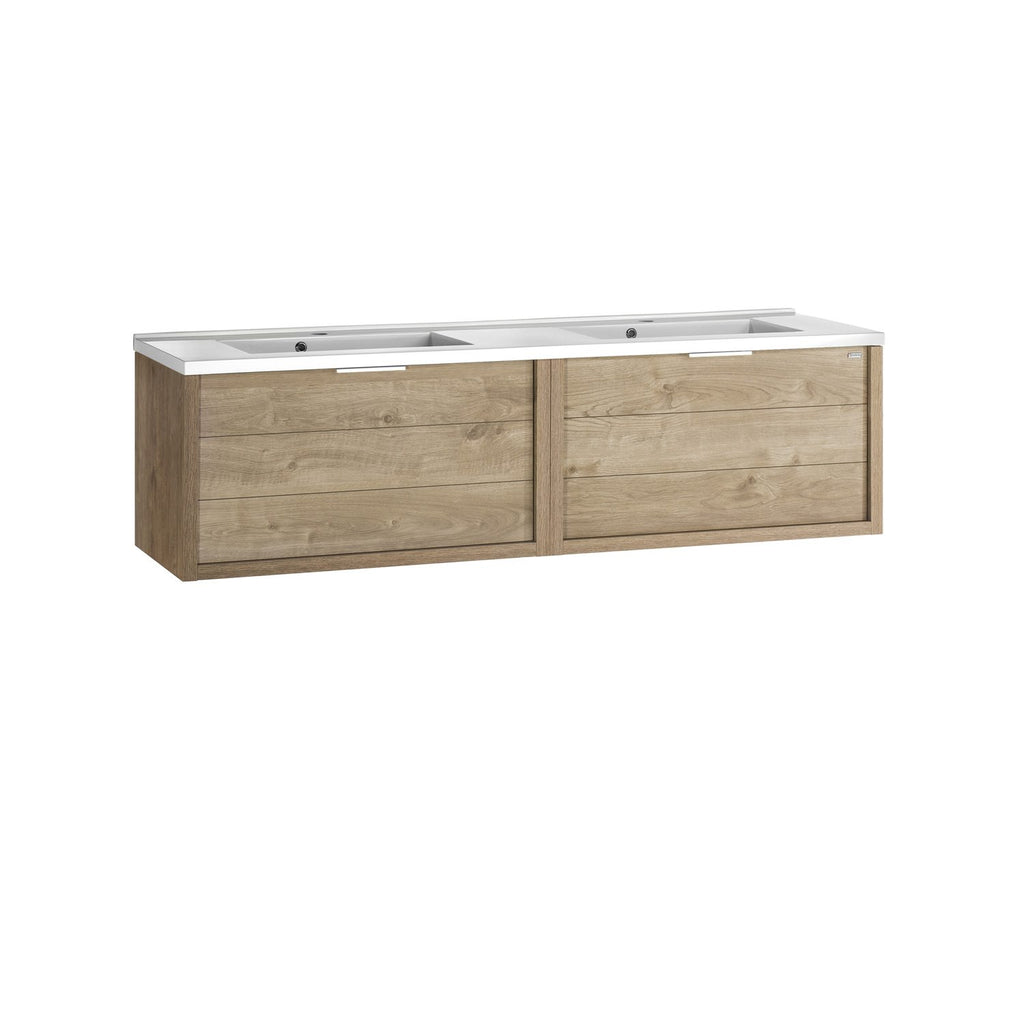 "64"" Double Vanity, Wall Mount, 2 Drawers with Soft Close, Oak, Serie Tino by VALENZUELA"