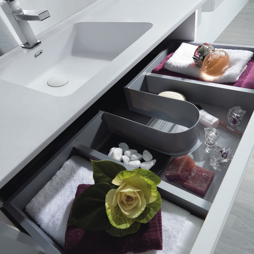 "32"" Single Vanity, Wall Mount, 2 Drawers with Soft Close, White Glossy, Serie Dune by VALENZUELA"