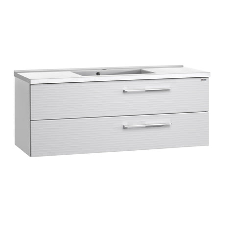 "48"" Single Vanity, Wall Mount, 2 Drawers with Soft Close, White Glossy, Serie Dune by VALENZUELA"