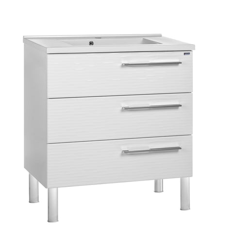 "24"" Single Vanity, Floor Mount, 3 Drawers with Soft Close, White Glossy, Serie Dune by VALENZUELA"