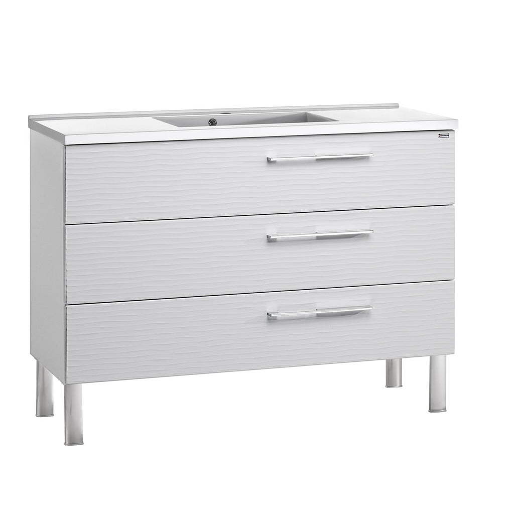 "48"" Single Vanity, Floor Mount, 3 Drawers with Soft Close, White Glossy, Serie Dune by VALENZUELA"