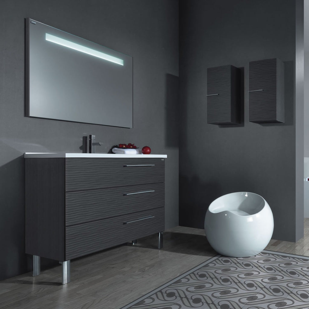 "32"" Single Vanity, Floor Mount, 3 Drawers with Soft Close, Grey, Serie Dune by VALENZUELA"