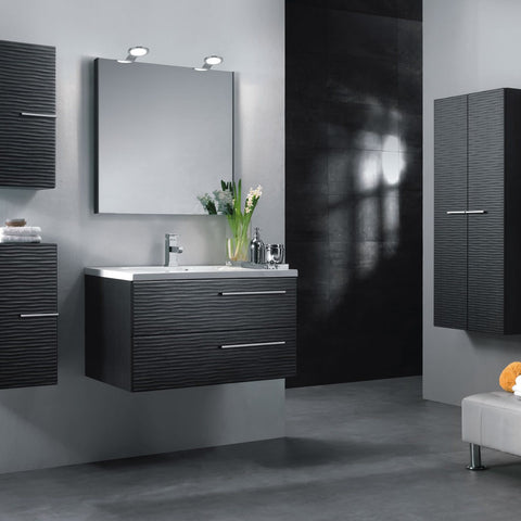 "32"" Single Vanity, Wall Mount, 2 Drawers with Soft Close, Grey, Serie Dune by VALENZUELA"