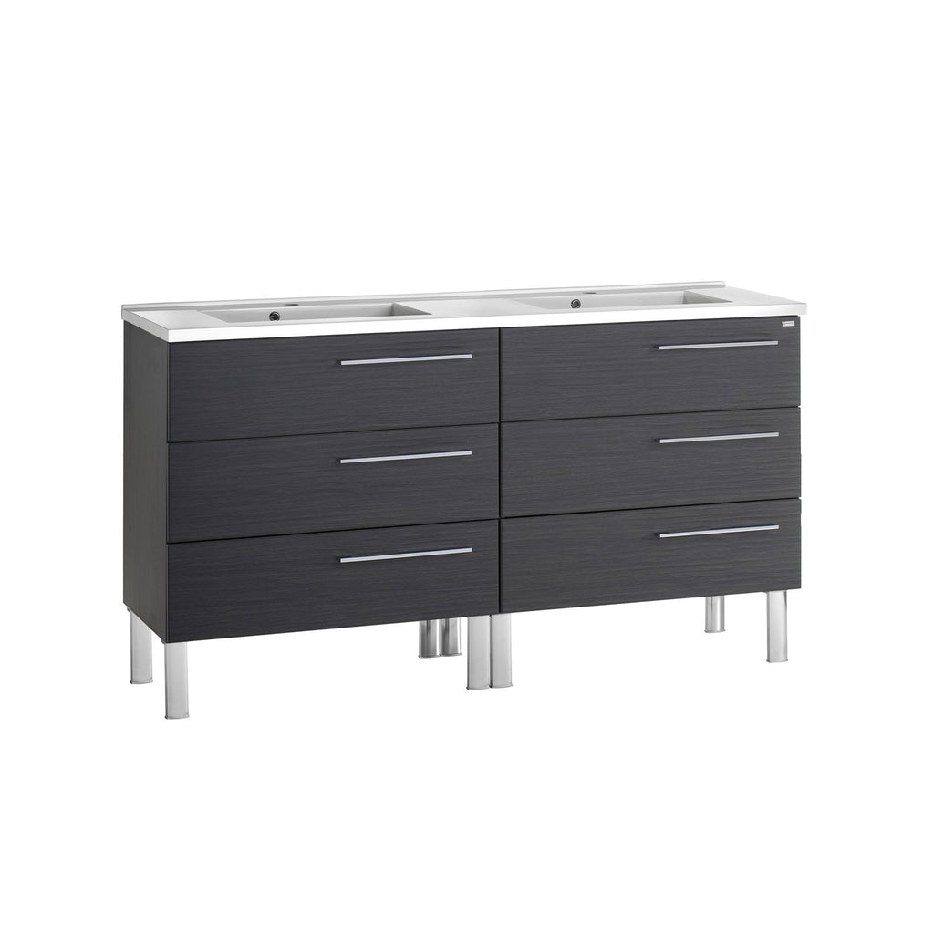 "56"" Double Vanity, Floor Mount, 6 Drawers with Soft Close, Grey, Serie Dune by VALENZUELA"