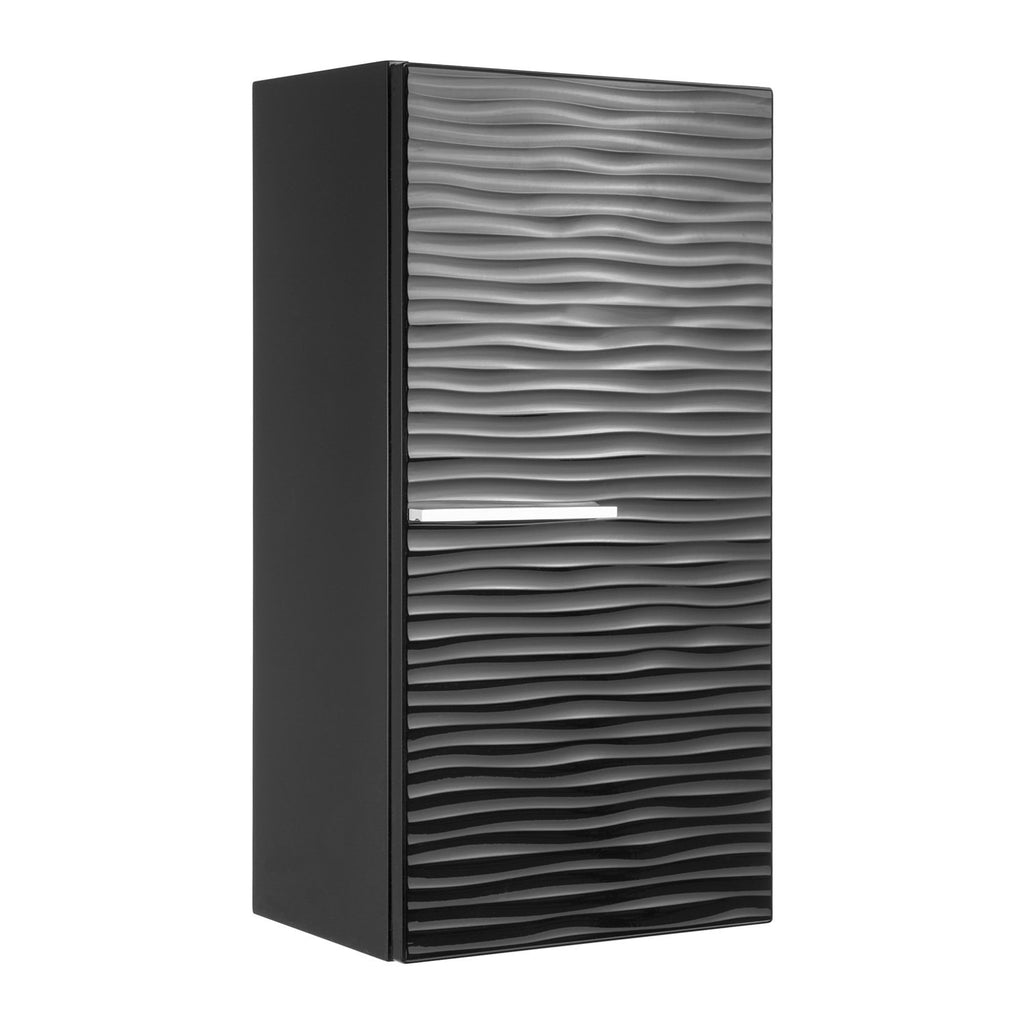 "16"" Small Side Cabinet, Wall Mount, 1 Door whit Handle and Soft Close and Right Opening, Black, Serie Dune by VALENZUELA"