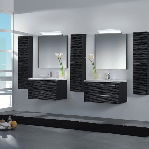 "28"" Single Vanity, Wall Mount, 2 Drawers with Soft Close, Black Glossy, Serie Dune by VALENZUELA"