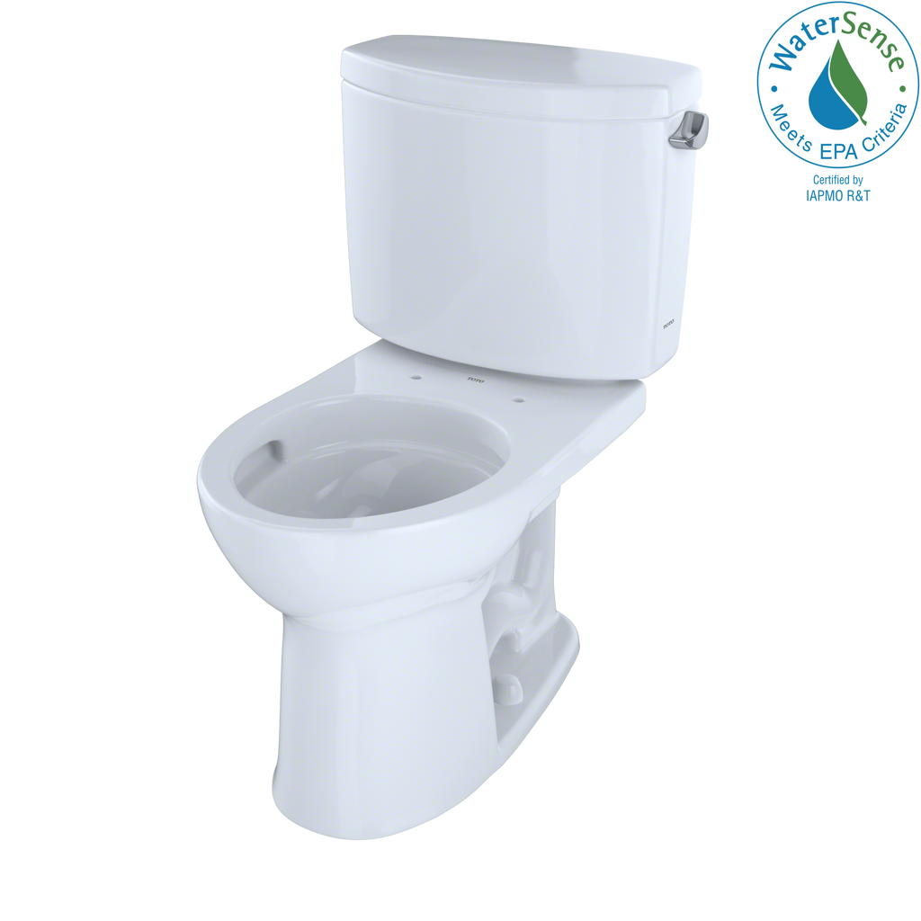 TOTO® Drake® II Two-Piece Round 1.28 GPF Universal Height Toilet with CeFiONtect™ and Right-Hand Trip Lever, Cotton White - CST453CEFRG#01