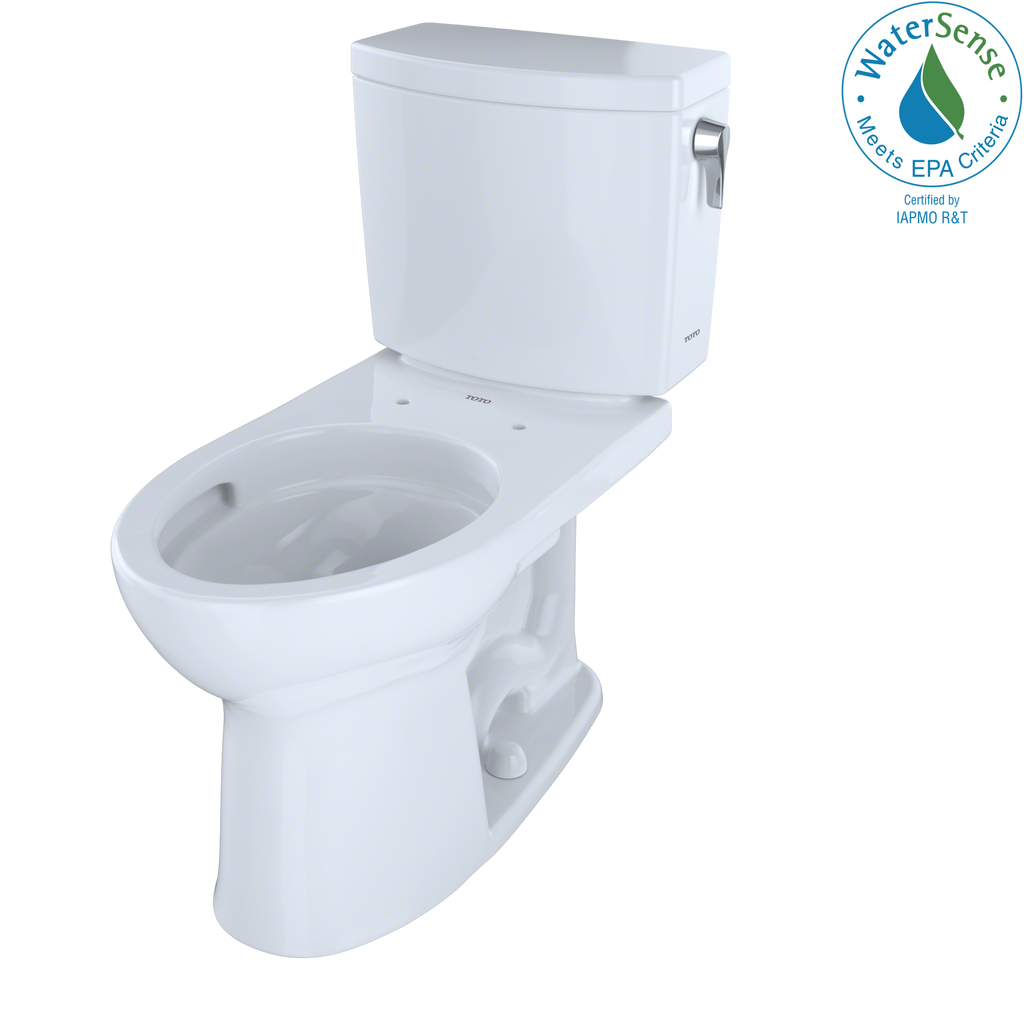 TOTO® Drake® II 1G® Two-Piece Elongated 1.0 GPF Universal Height Toilet with CeFiONtect™ and Right-Hand Trip Lever, Cotton White - CST454CUFRG#01