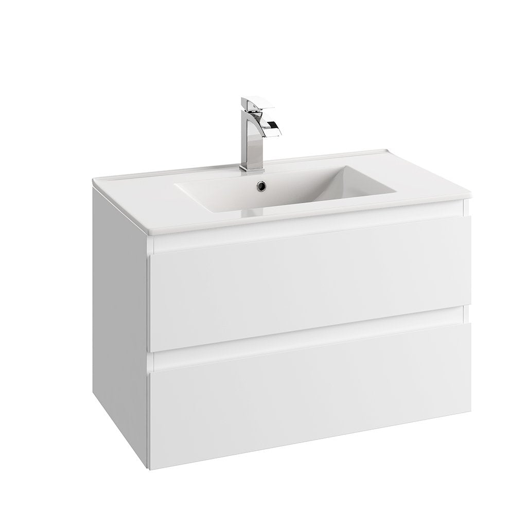 "DAX Hibiscus single vanity cabinet 32"" matte white with Plan basin (DAX-HIB013211-PLN)"