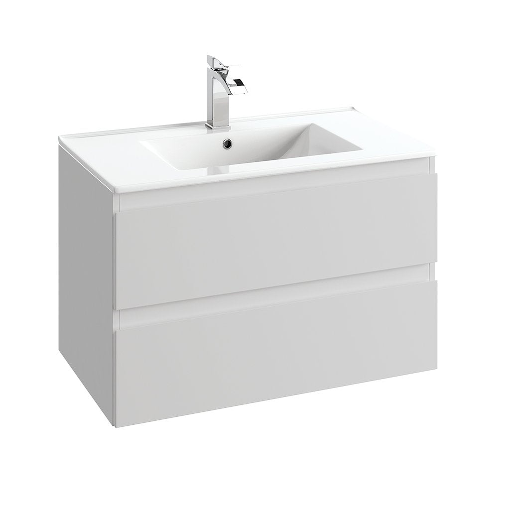 "DAX Hibiscus single vanity cabinet 32"" matte cool grey with Plan basin (DAX-HIB013216-PLN)"