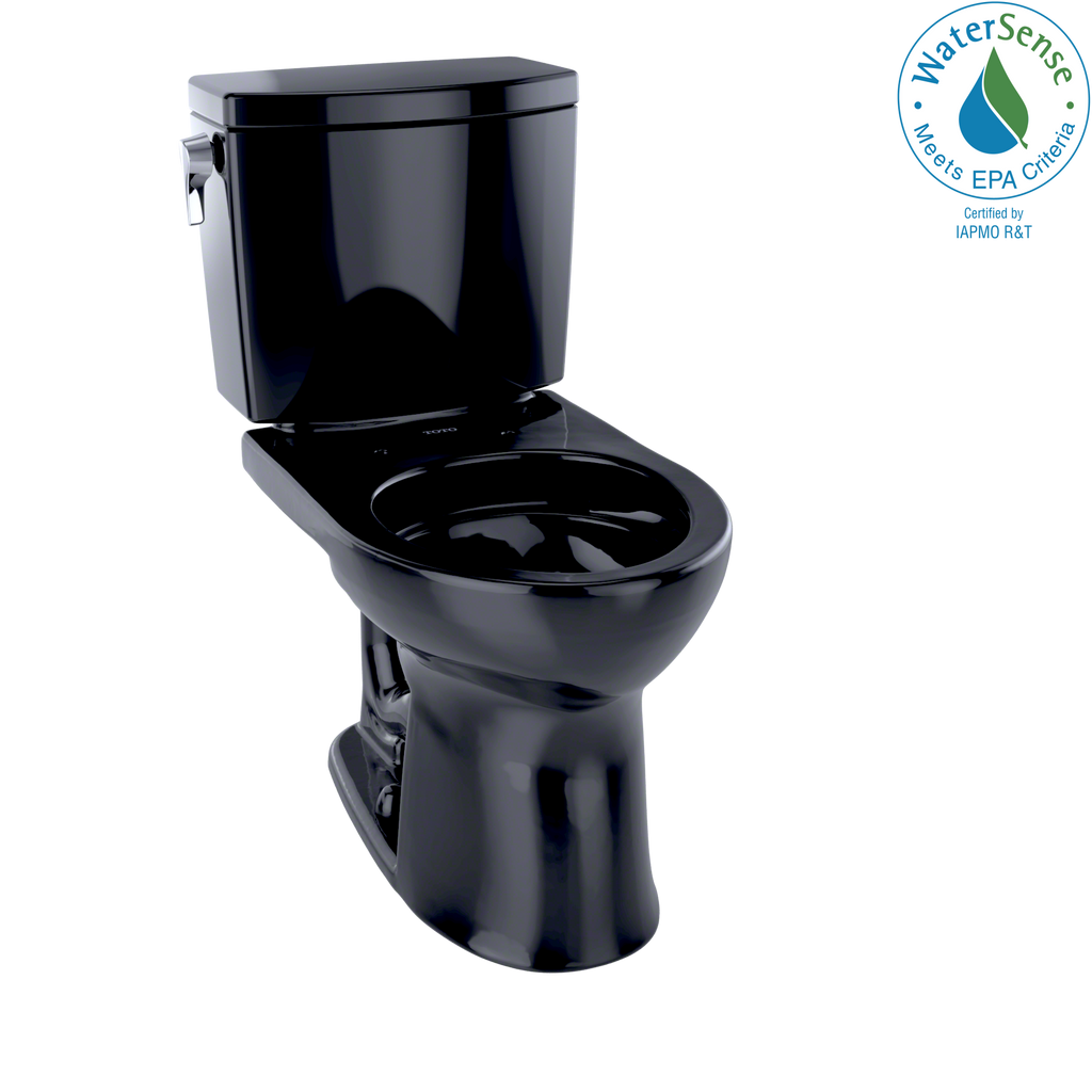 TOTO® Drake® II 1G® Two-Piece Round 1.0 GPF Universal Height Toilet, Ebony - CST453CUFG#51