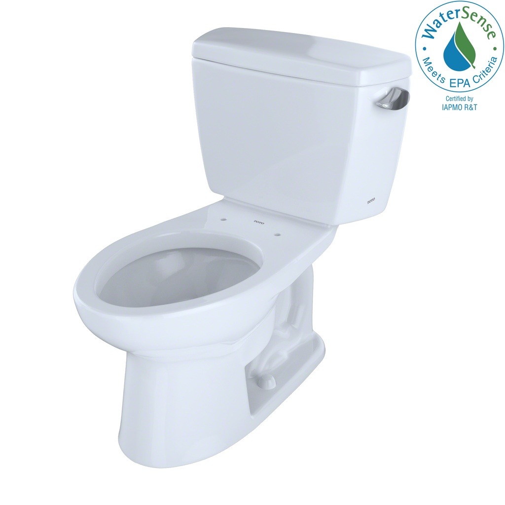 TOTO® Eco Drake® Two-Piece Elongated 1.28 GPF ADA Compliant Toilet with Right-Hand Trip Lever, Cotton White - CST744ELR#01