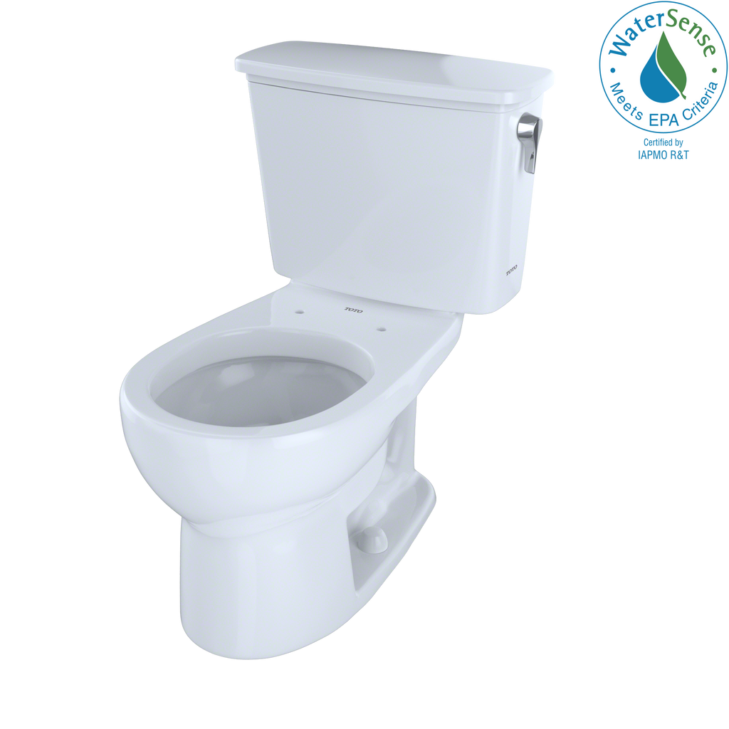 TOTO® Eco Drake® Transitional Two-Piece Round 1.28 GPF Toilet with Right-Hand Trip Lever, Cotton White - CST743ERN#01