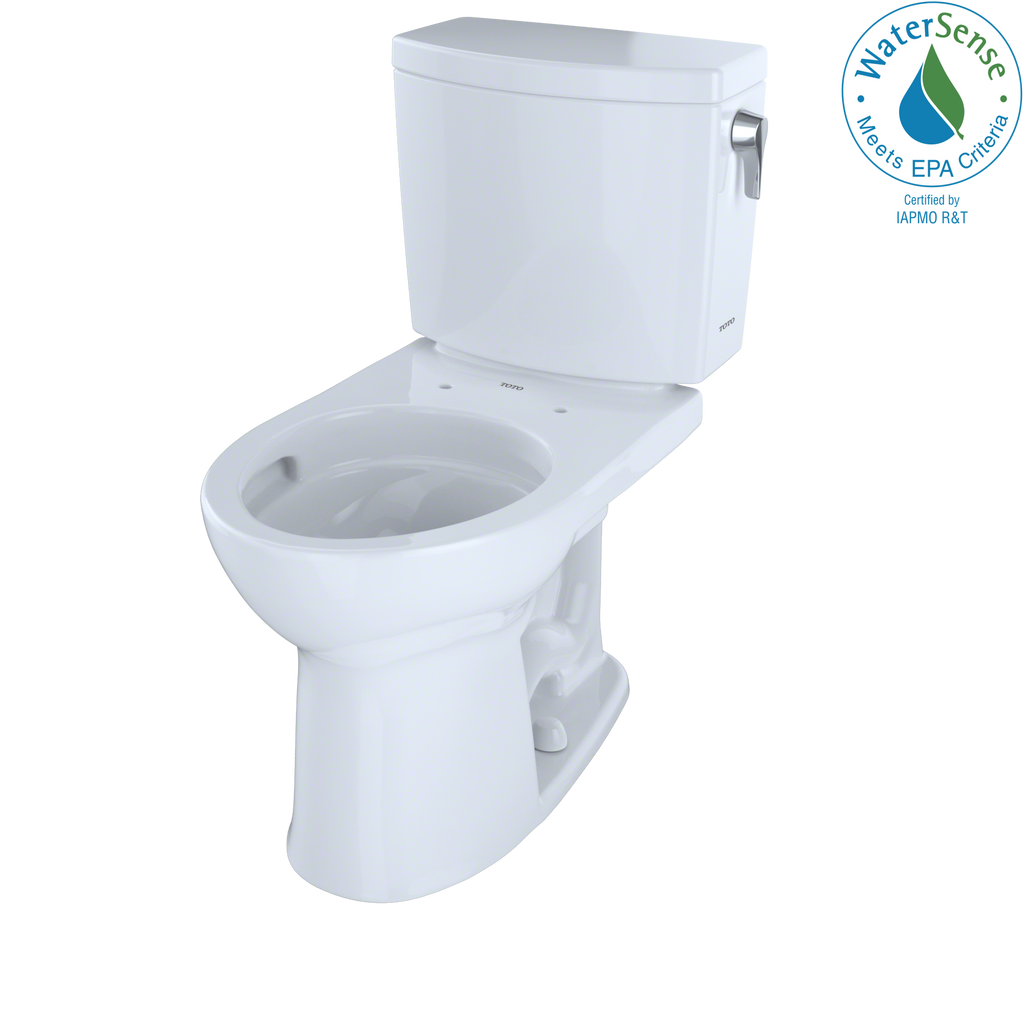 TOTO® Drake® II 1G® Two-Piece Round 1.0 GPF Universal Height Toilet with CeFiONtect™ and Right-Hand Trip Lever, Cotton White - CST453CUFRG#01