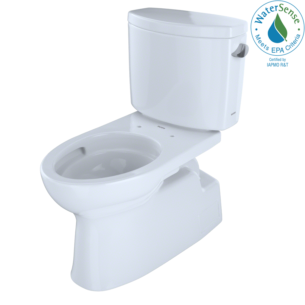 TOTO® Vespin® II Two-Piece Elongated 1.28 GPF Universal Height Skirted Toilet with CeFiONtect™ and Right-Hand Trip Lever, Cotton White - CST474CEFRG#01