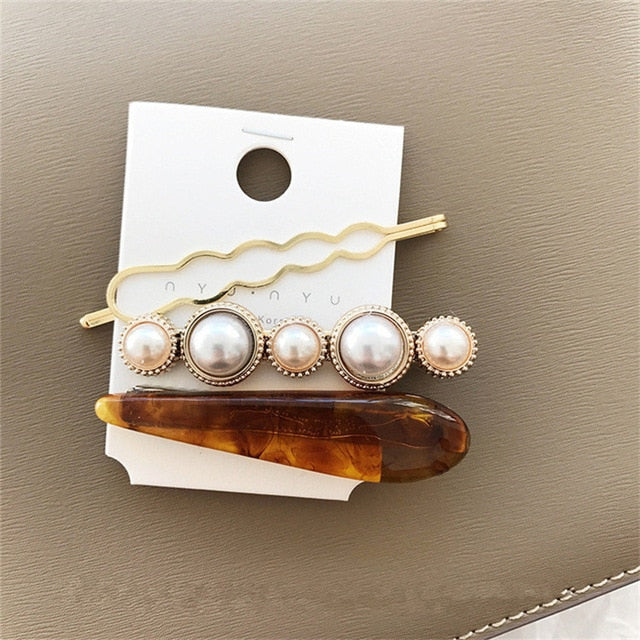Brown Marble-Pearl Marble Collection Hair Clips - Hey Maisie