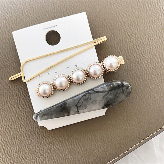 Black Marble-Pearl Marble Collection Hair Clips - Hey Maisie