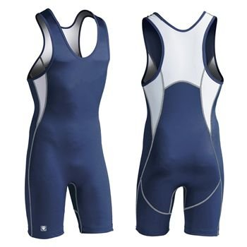 New Brute Rogue AVT Wrestling Singlet Junior Small Royal/White Hi Cut