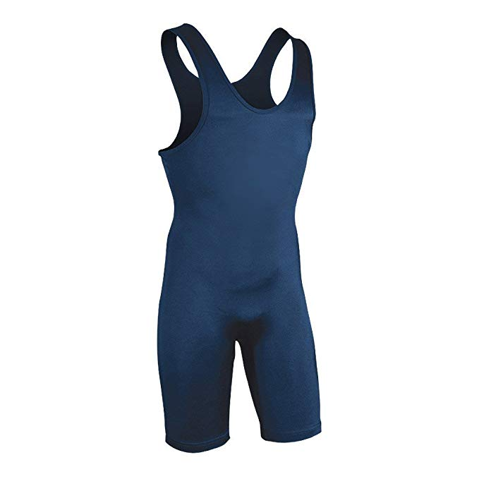 New Brute Men's Lycra High Cut Wrestling Singlet 013805C Youth Large Navy