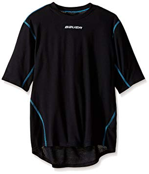 New Bauer Boys Youth Large NG Core Short Sleeve Crew Base Layer Top Black,/Royal