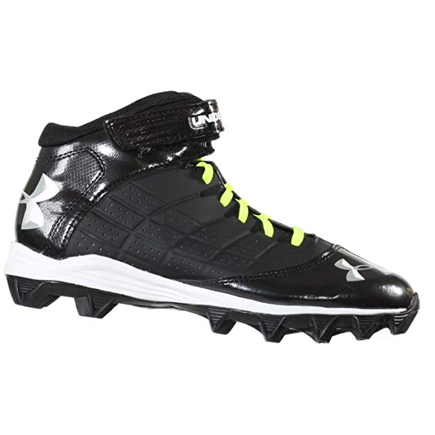 New Under Armour Boy's 12k Crusher Mid Football Cleat Black/White