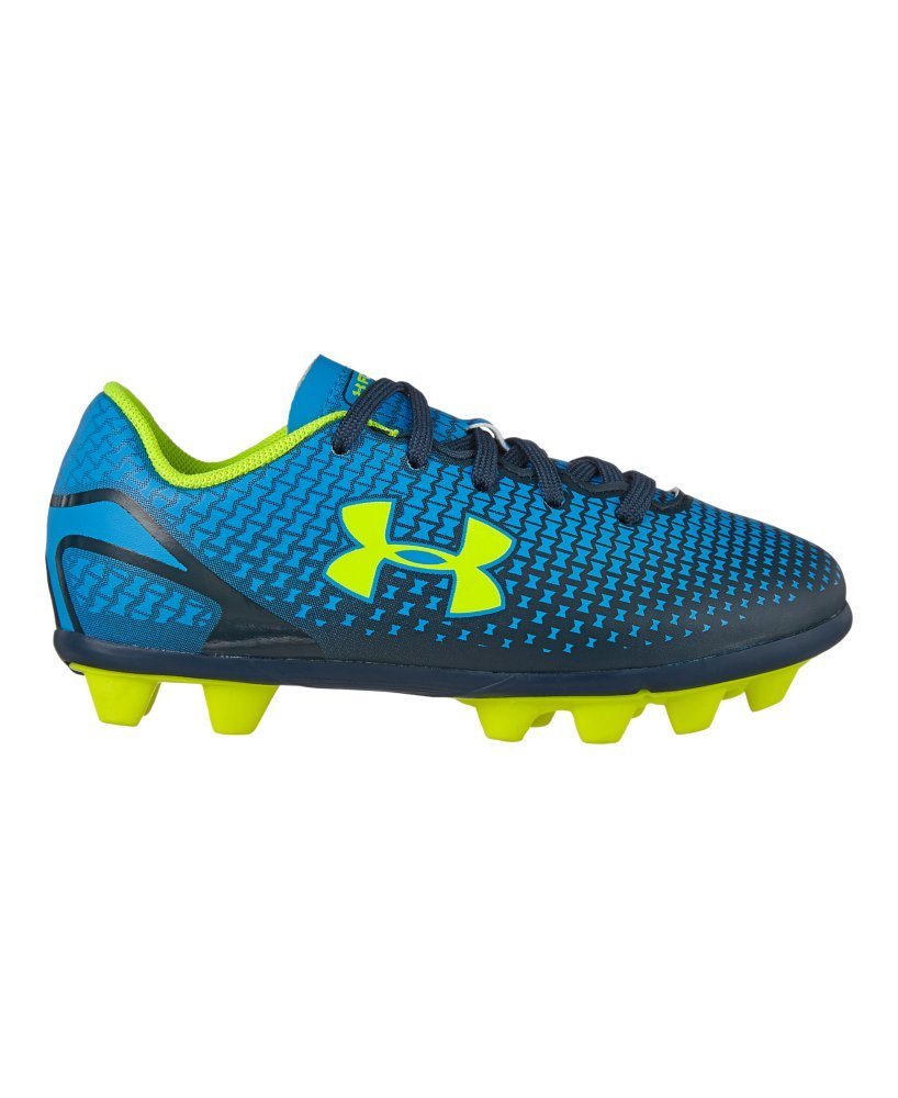 New Under Armour Speed Force HG JR Youth 12K Blue/Yellow Molded Soccer Cleat
