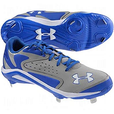 New Under Armour Men 13.5 Yard Low ST Baseball Royal/Gray Baseball Metal Cleats