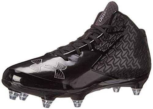 New Under Armour Men's Nitro Mid Detachable Football Shoe Size 10.5 Blk/Gry