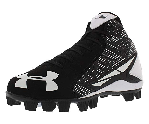 New Under Armour Boy's Leadoff Mid Jr. Baseball Cleat White/Black 10K