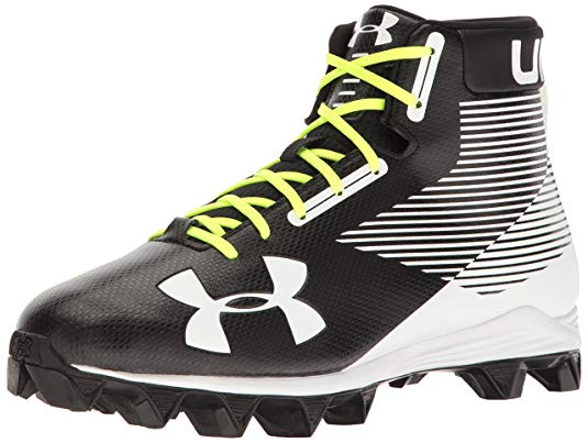 New Under Armour Mid RM Junior Football Cleats Blk/Wht Youth 1.5