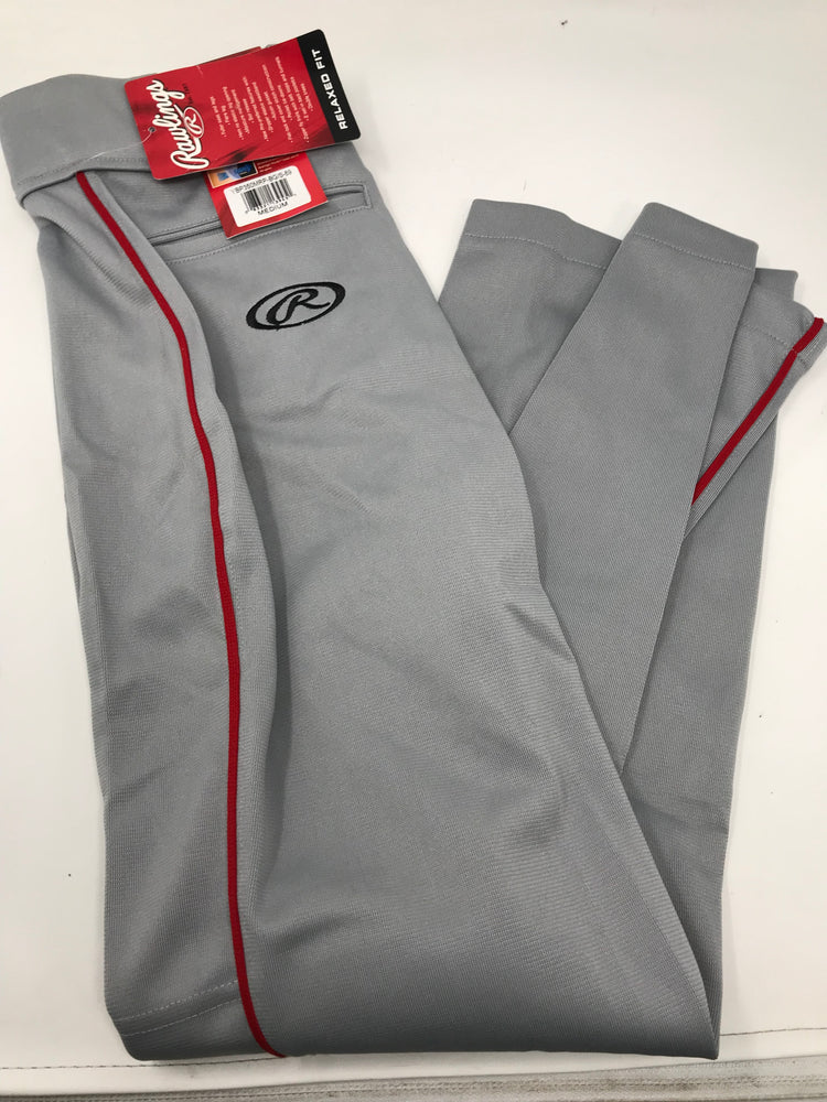 New Rawlings Youth Premium Baseball Semi-Relaxed Fit Piped Pants Medium Gray/Rd