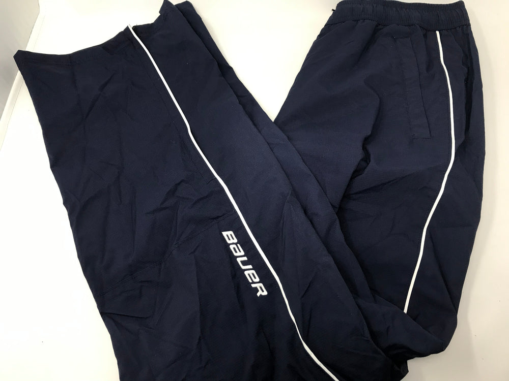 New Bauer Senior Small Warm Up Hockey Pants Navy/White Draw String Waist
