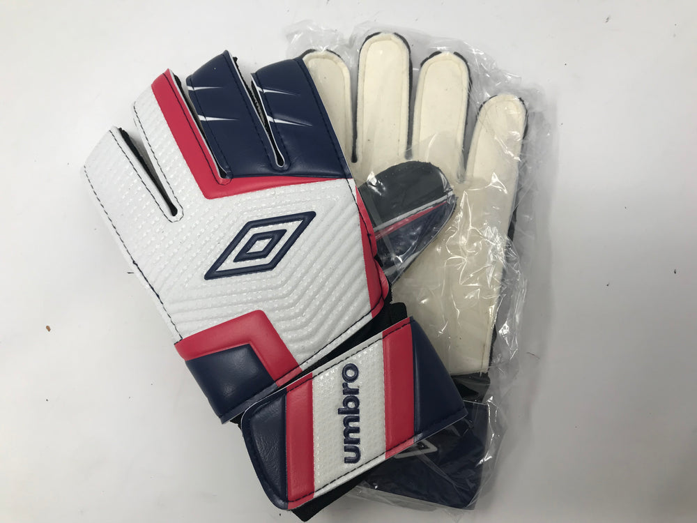 New Umbro Adult Rift Soccer Goalie Gloves Red/Wht/Blue Size 6
