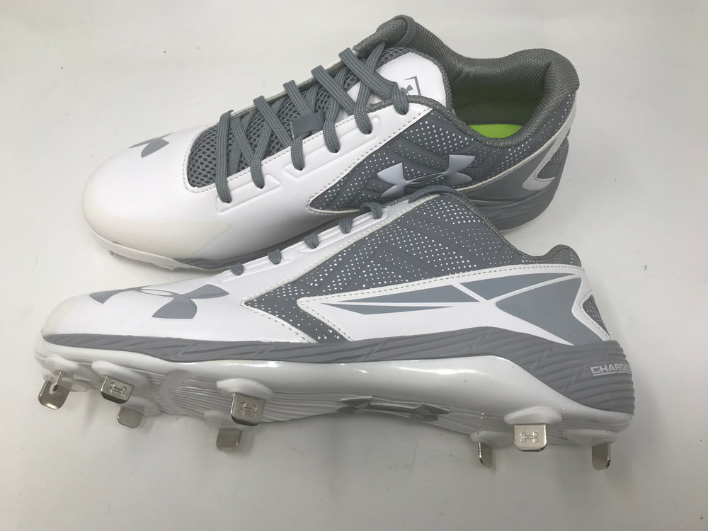 New Under Armour Men's UA Yard Low ST Baseball Cleats14 Mm White/Gray
