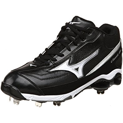 New Mizuno 9 Spike Classic G6 Low switch Mens 8 Baseball Cleats Blk/Wht