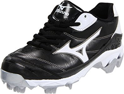 New Mizuno 320395 Size 5 Finch 9 spike Womens Fastpitch molded Cleat Blk/Wht