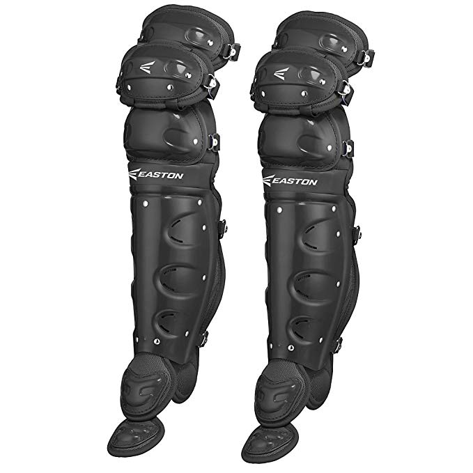 New Easton Youth Natural Leg Guards Baseball Catcher's Black Ages 9-12  12.75""