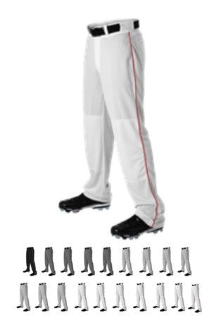 New Alleson Open Bottom Baseball Pants with Braid Adult Small White/Red