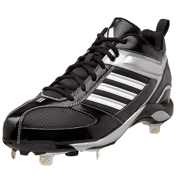 New Adidas Men's Size 8 Diamond King Metal Mid Baseball Cleat Black/Silver