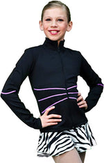 New Chloe Noel Swirls Figure Skating Jacket J37 Youth Small Black/Purple