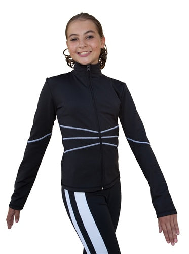 New Chloe Noel Swirls Figure Skating Jacket J37 Youth Medium Black/White
