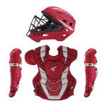 New Easton Pro X Adult Baseball Catcher's Set 15+ Red/Silver Complete