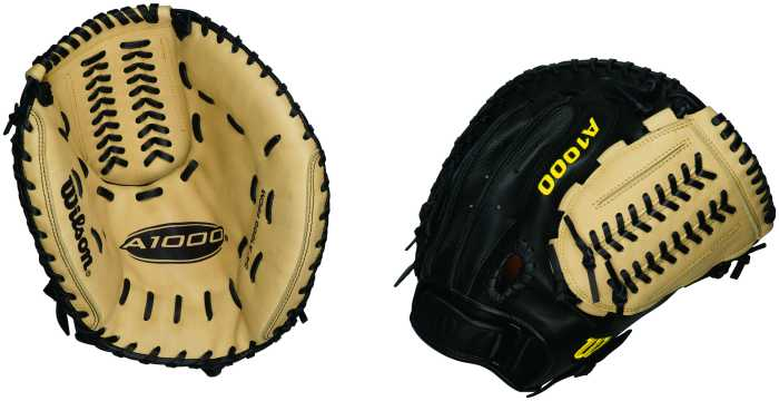 New Wilson WTA1000 FPCM 34 Inch Fastpitch Catcher's Mitt RHT Black/Tan