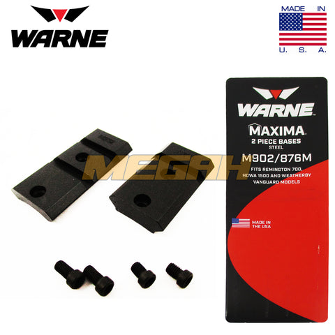 WARNE 2-PIECE BASE MOUNT For REMINGTON 700, HOWA 1500 & WEATHERBY VANGUARD (MT740)